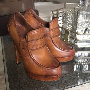 Gucci brown platform loafer heels, 38 1/2